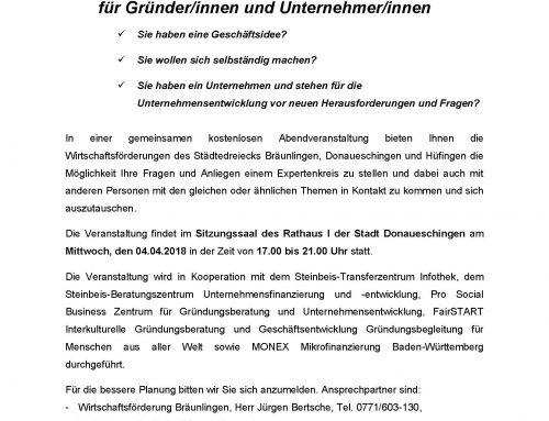 Einladung Gründertage Donaueschingen