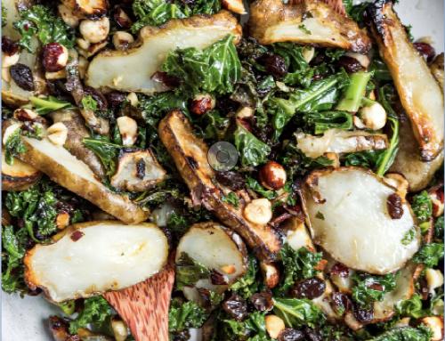Warmer Salat mit Topinambur und Grünkohl